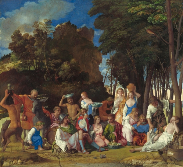 The Feast of the Gods (1514–29) Giovanni Bellini, with later additions by Dosso Dossi and Titian. Image courtesy of the Board of Trustees, National Gallery of Art, Washington, DC