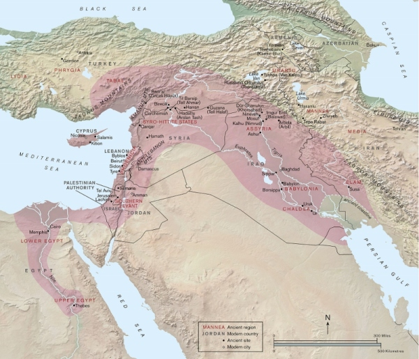 Map showing the fullest extent of the Assyrian empire (in pink) by Paul Goodhead