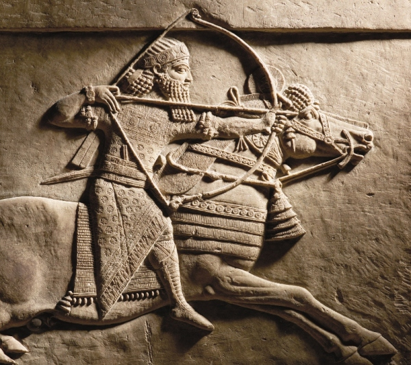 Relief detail of Ashurbanipal hunting on horseback from Nineveh, Assyria (645–635 BC) © The Trustees of the British Museum
