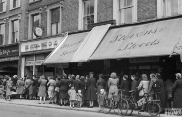 The queue for rationed food - symbol of post-war Britain