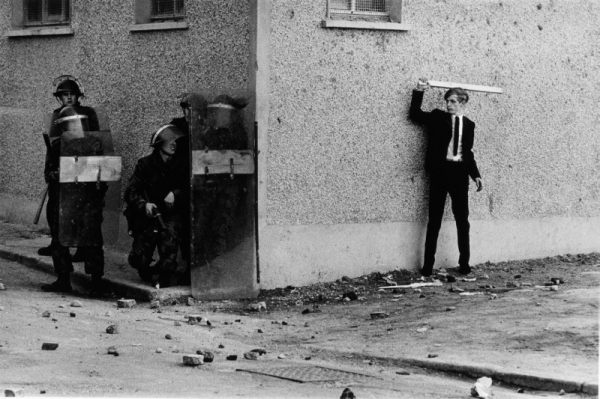 A Catholic youth threatening police, Londonderry, Northern Ireland (1971)