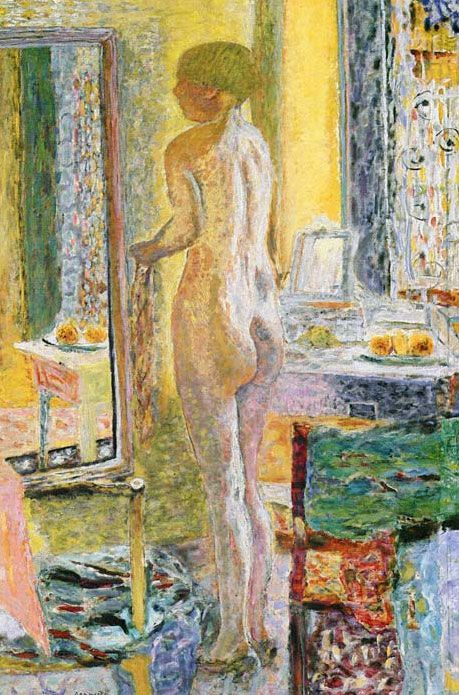 Nude before a mirror by Pierre Bonnard (1923)