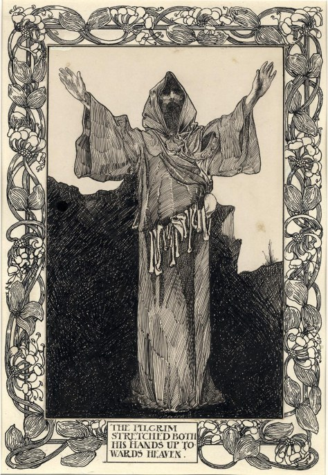 The Pilgrim stretched both of his hands up towards Heaven by Charles Robinson (1900)