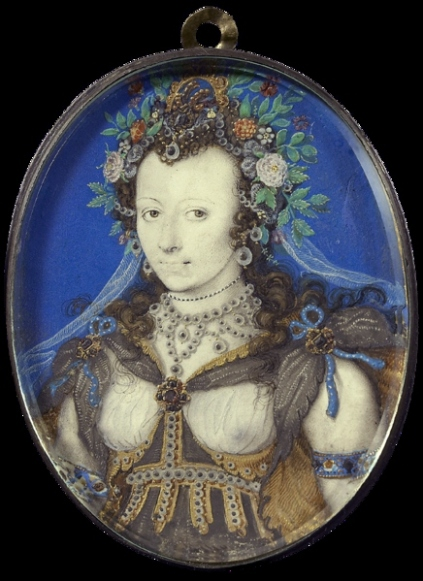 Portrait of a lady, masqued as Flora by Isaac Oliver