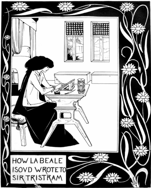 How La Beale Isoud Wrote to Sir Tristram from the Morte d'Arthur by Aubrey Beardsley (1892)