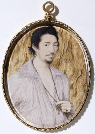 Unknown man against a background of flames by Nicholas Hilliard (c.1600) © Victoria & Albert Museum