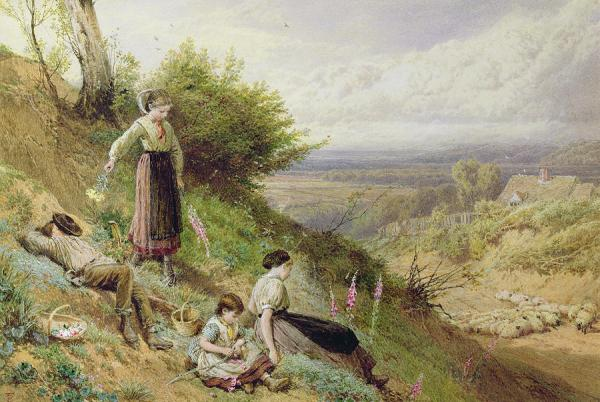 The Hillside (gathering foxgloves) by Myles Birket Foster