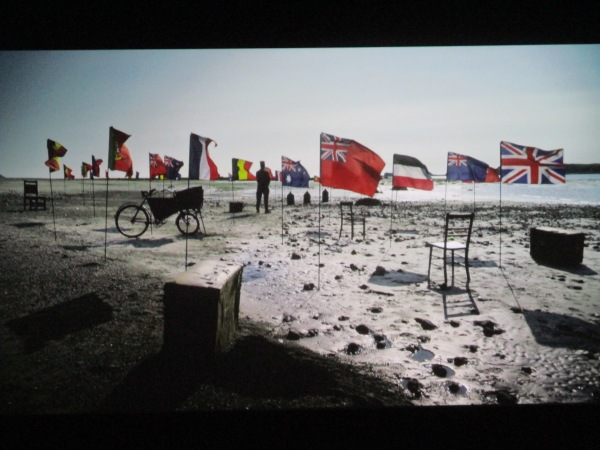Installation view of the 'beach' sequence of Mimesis: African Soldier at the Imperial War Museum, London
