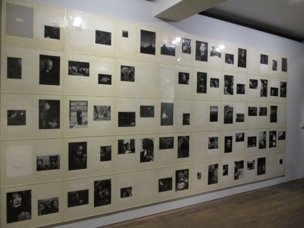 Installation view of Dave Heath: Dialogues with Solitudes at the Photographers Gallery, showing the wall-sized display of photos and texts from the book, Dialogue with Solitude. Photo by the author