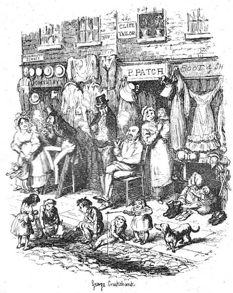 Meditations in Monmouth Street (1839) by George Cruikshank