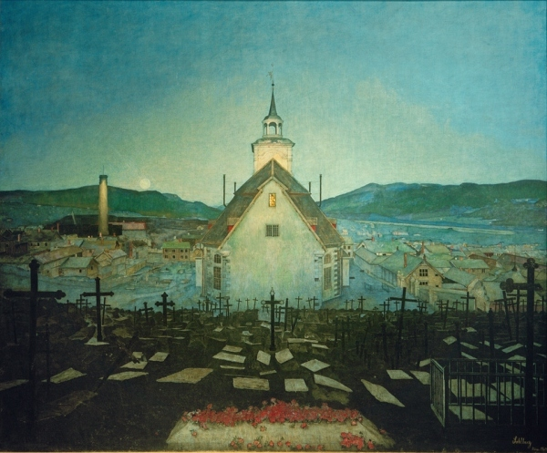 Night, Røros Curch (1903) by Harald Solhberg