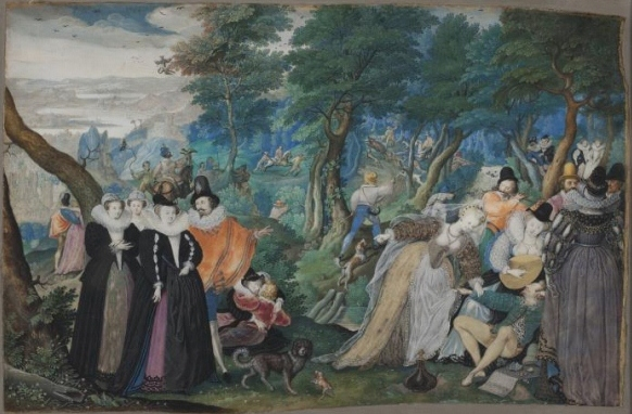 A Party in the Open Air: An Allegory on Conjugal Love by Isaac Oliver (1590-95) © National Gallery of Denmark