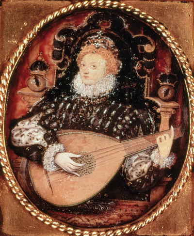 Elizabeth I Playing the Lute c. 1580 by Nicholas Hilliard