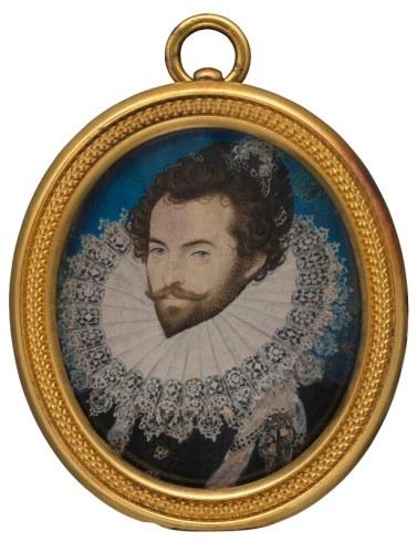 Sir Walter Ralegh (Raleigh) by Nicholas Hilliard c. 1585 © National Portrait Gallery, London