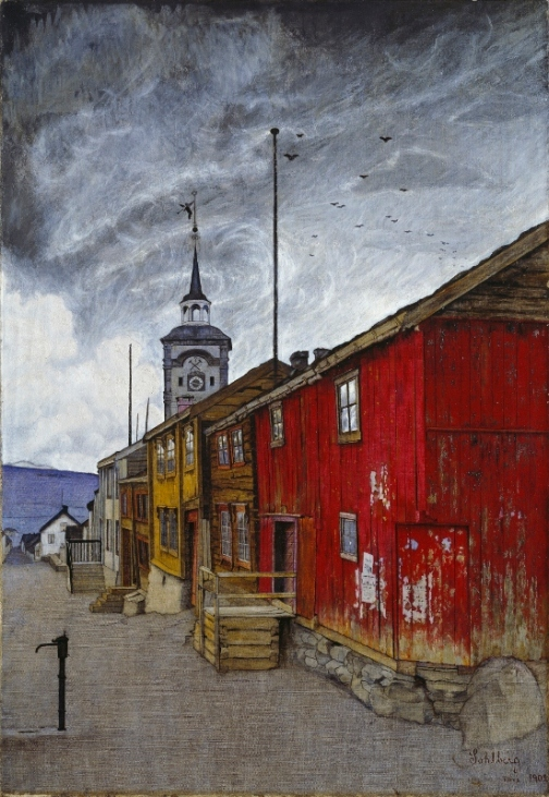 Street in Roros in Winter (1903) by Harald Sohlberg. The National Museum of Arts, Architecture and Design, Norway