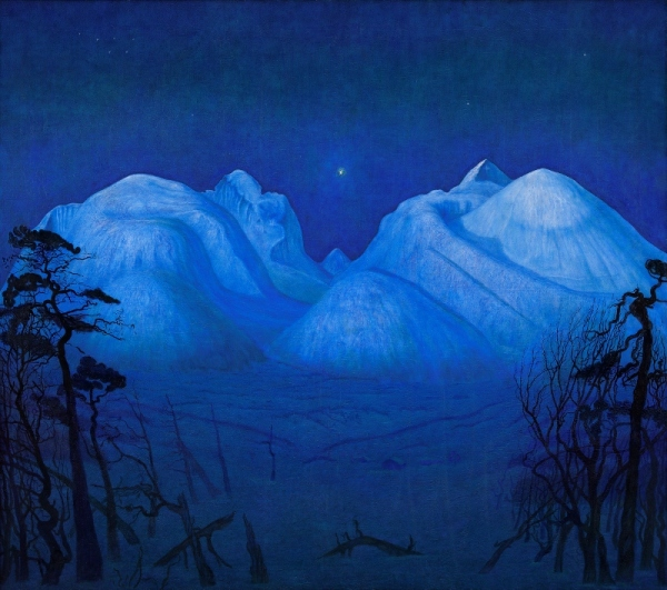 Winter Night in the Mountains (1914) by Harald Sohlberg. The National Museum of Art, Architecture and Design, Norway