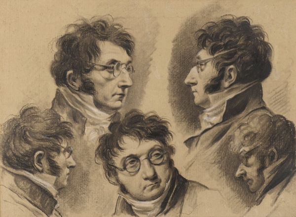 Sheet of studies with five self-portrait drawings of the artist, about 1810 by Louis-Léopold Boilly. The Ramsbury Manor Foundation. Photo © courtesy the Trustees
