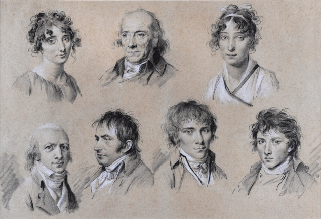 Portrait of Jean Darcet and Six Members of his Family (about 1801) by Louis-Léopold Boilly. Black and white chalk on paper. The Ramsbury Manor Foundation. Photo © courtesy the Trustees