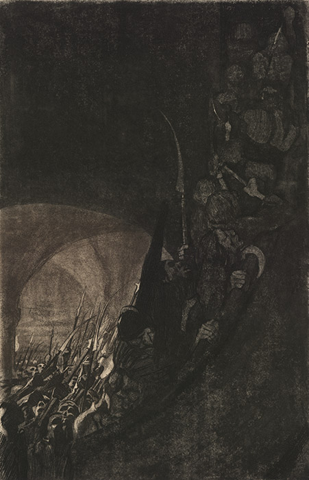 Very dark image of a hoard of people armed with axes and spears and halberds thronging catacombs and, on the right of the image, surging up a very steep staircase, presumably into the light of day