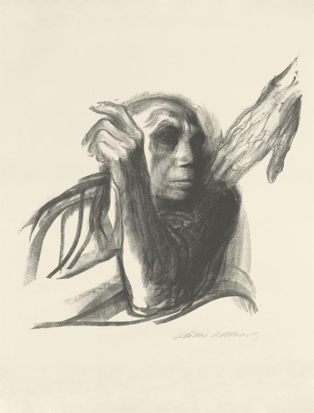 Stark, primitive black and white charcoal drawing of a bald woman with an ape-like head, hear arms across her chest so you're not sure of her gender, and from the top right a veined and bony hand reaching down to touch her - the touch of Death