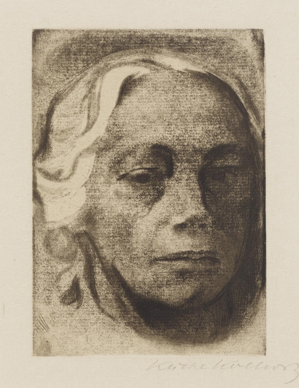 Black and white charcoal drawing of an old lady's face