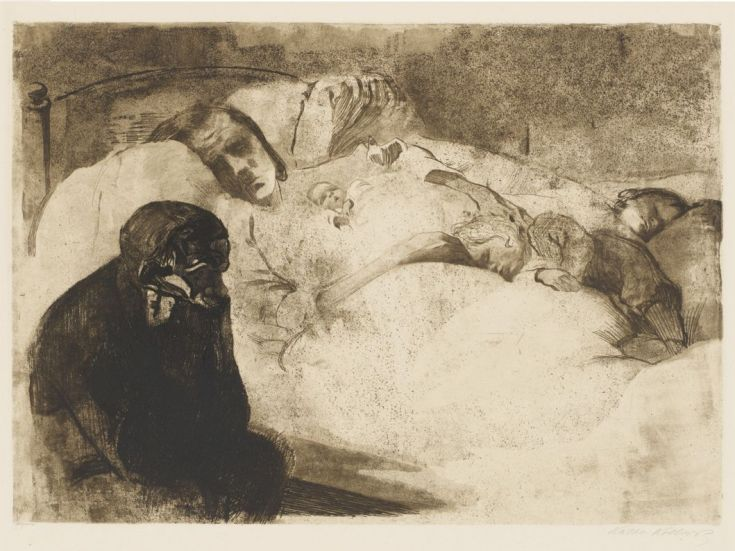 Black and white drawing of an ill-looking woman tucked up in bed, holding a small baby, with several other small children asleep on the bedding, while the dark image of her husband sits and broods beside the bed